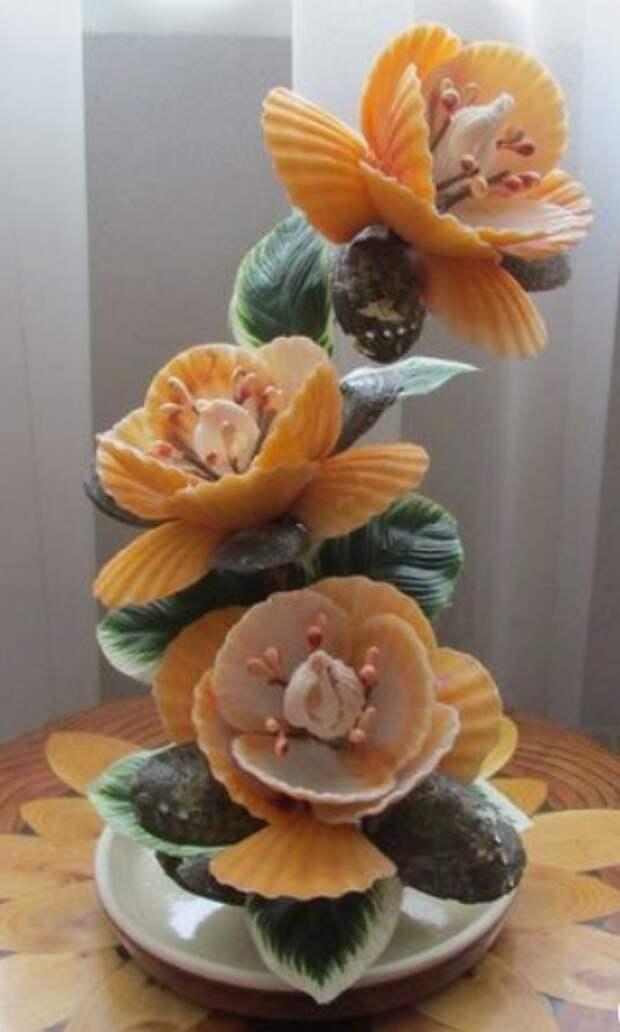 Цветы из ракушек. Очень красивое творчество!