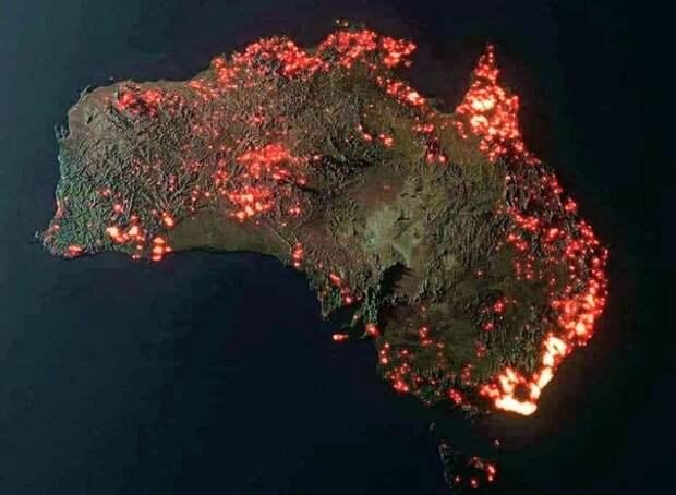 Снимок из космоса. Австралия в огне.