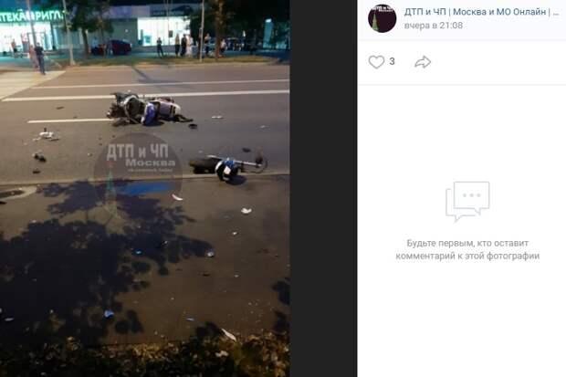 Два мотоциклиста столкнулись на улице Туристской