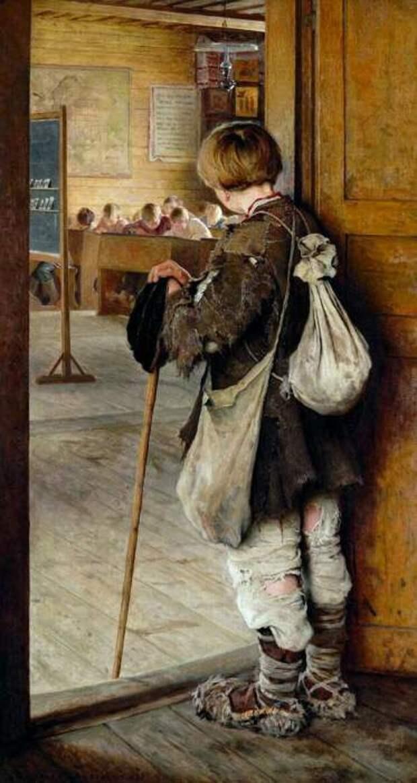 Николай Богданов-Бельский «У дверей школы»