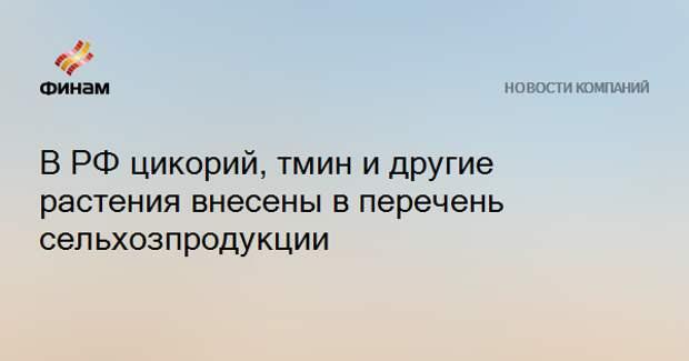 В РФ цикорий, тмин и другие растения внесены в перечень сельхозпродукции