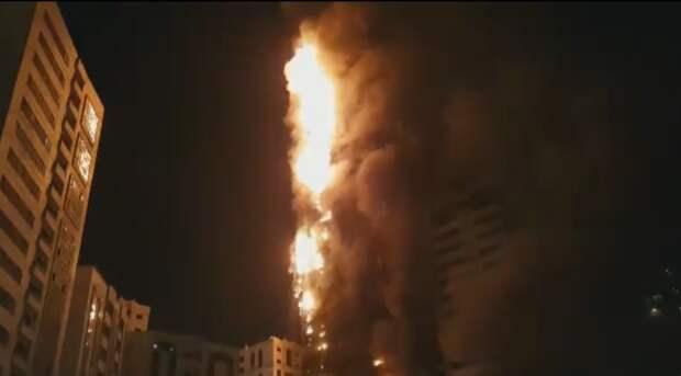 В ОАЭ загорелся небоскреб в 48 этажей