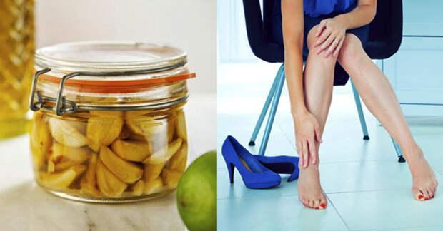Смесь уксуса и чеснока улучшит кровообращение в ногах и уберёт чувство тяжести
