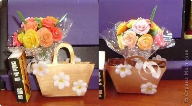 Поделка изделие Упаковка День рождения Лепка Просто веточка…опять розочки…и сумочка Фарфор холодный фото 4