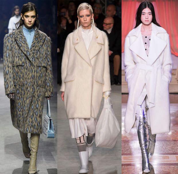 Пушистое модное пальто