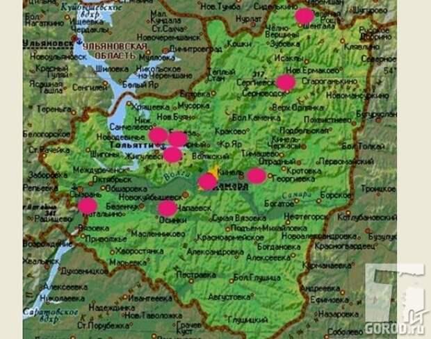 На карте отмечены места, где наблюдался реликтовый гоминоид