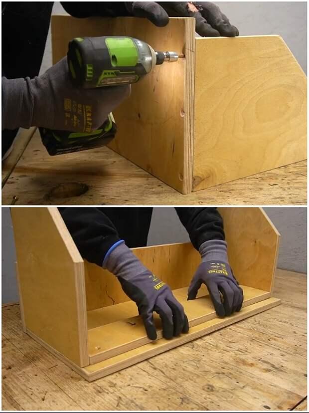 Процесс сборки и укрепления козырька для подъемной конструкции полки-стеллажа. | Фото: youtube.com/ © Men's Craft.