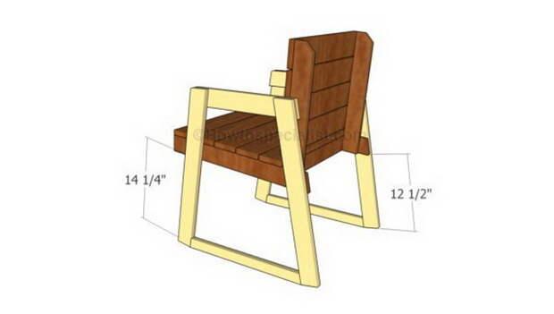 Чертежи кресло-качалки с процессом пошаговой сборки элементов с использованием 3D-моделирования