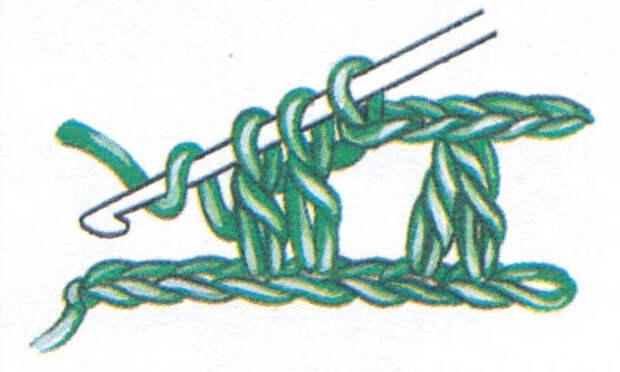 Два столбика с накидом, провязанные вместе (фото 2)