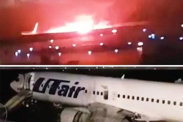 В Сочи при посадке загорелся Boeing 737-800, пассажиров спасли, но погиб спасатель