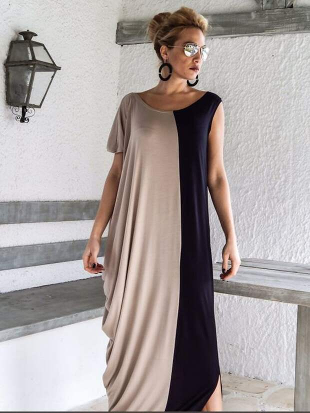 Black + Beige Maxi Dress / Black & Beige Kaftan / Asymmetric Plus Size Dress / Oversize Loose Dress / #35061 This elegant, sophisticated, loose and comfortable maxi dress, looks as stunning with a pair of heels as it does with flats. You can wear it for a special occasion or it can be your everyday comfortable dress. - Handmade item - Materials : viscose * Viscose is a very soft stretch fabric, thin, comfortable and it drapes beautifully. * Stretch cotton is a thicker option with a lit...