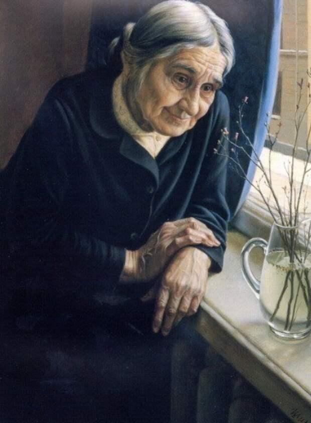 Вот эта старушка с портрета очень похожа на нашу старенькую соседку. Особенно взгляд.
