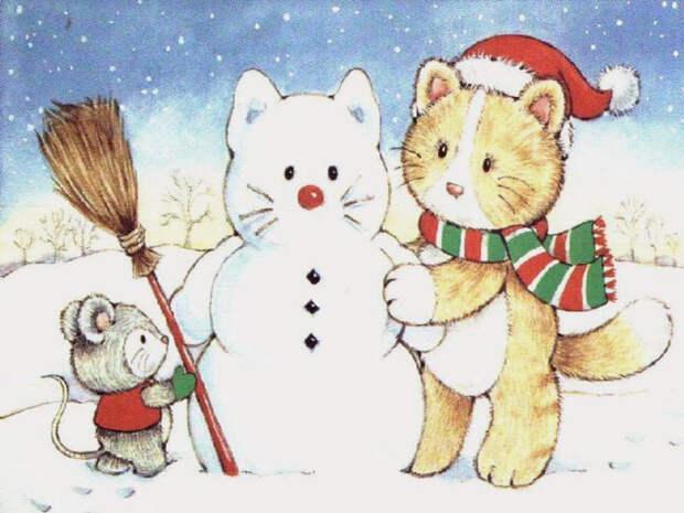 Котик и снеговик