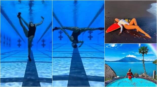 Танцующая королева: русская пловчиха показала подводный танец в туфлях и ажурных колготках