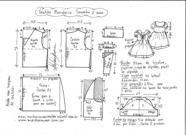 Выкройка платья в морском стиле для девочки несколько размеров