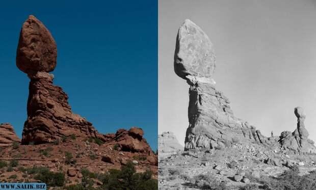 Balanced Rock - до 1976 года и после.
