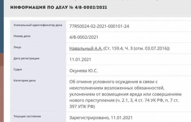 ФСИН просит суд заменить условное наказание для Навального на реальный срок в колонии