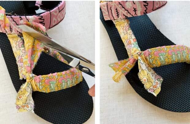 Декор сандалий платками diy