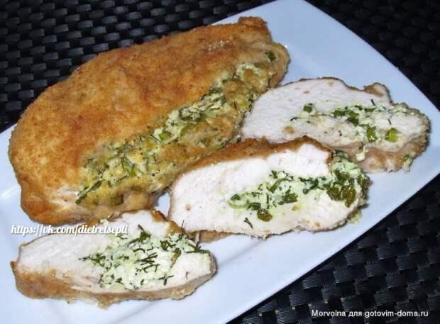 Куриное филе с творогом и зеленью!