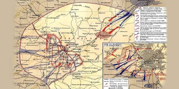 Осенью 36-го развернулась битва за Мадрид, который путчистам взять не удалось
