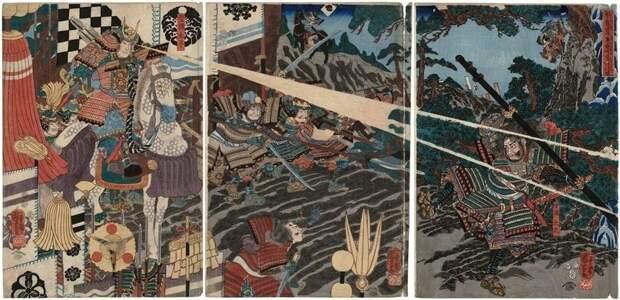 На этой гравюре принц Сётоку собственноручно убивает Мононобэ-но Морию, что, конечно же, является неправдой.