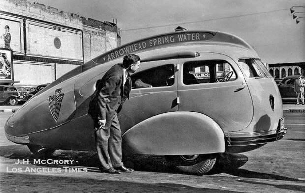 Автомобиль Arrowhead Teardrop, разработанный У. Эвереттом Миллером и построенный компанией Advance Body в Лос-Анджелесе, 1936 автомир, аэродинамика, из прошлого, конструкция, обтекаемость. формы