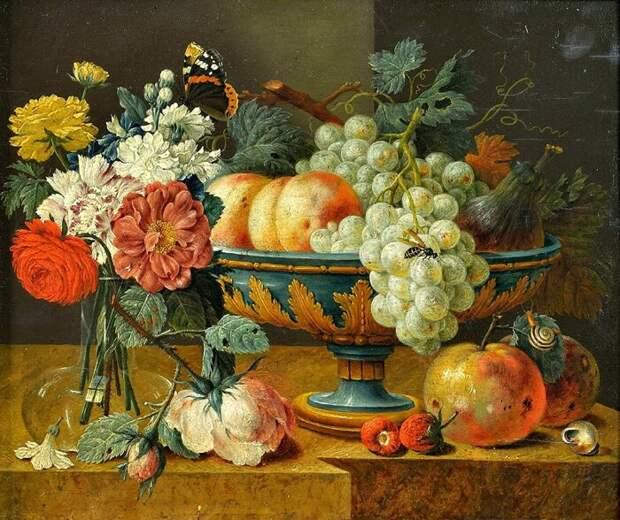 Ваза с фруктами и цветами, Ян Давидс де Хем, первая половина XVII века. \ Фото: amazon.com.