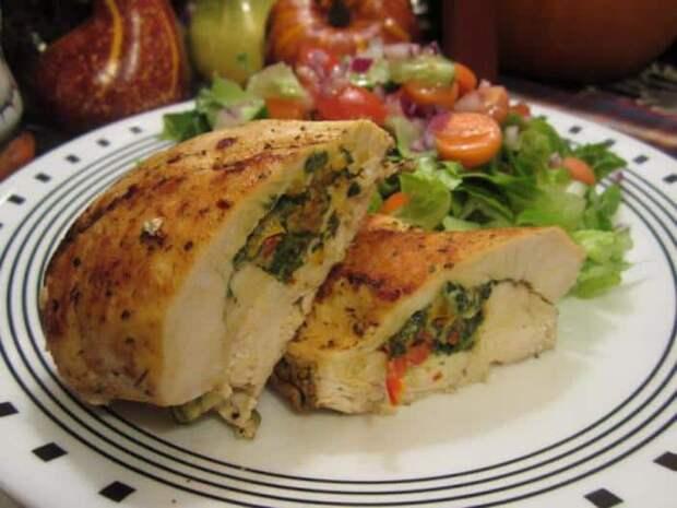 Курица фаршированная сыром