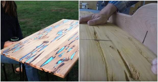 Чудесное превращение доски с изъяном в светящийся столик