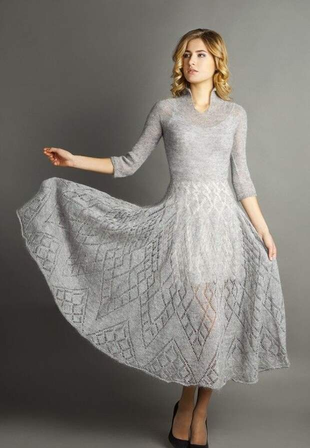 Очень элегантные идеи: мохеровые платья и юбки платочной вязкой