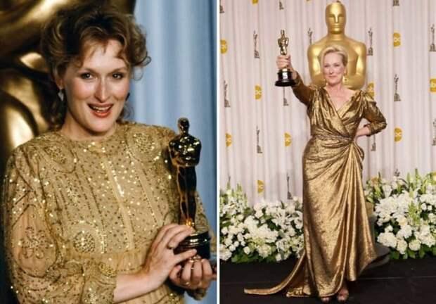 Мерил Стрип в 1983 и в 2012 гг. | Фото: cosmo.ru