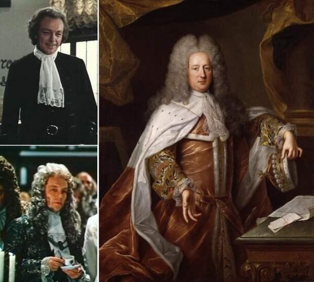 Слева - Кирилл Лавров в роли Болингброка. Справа - Болингброк на потрете неизвестного французского художника, написанном около 1712 - 1714 года (картина хранится в Национальной портретной галерее в Лондоне).