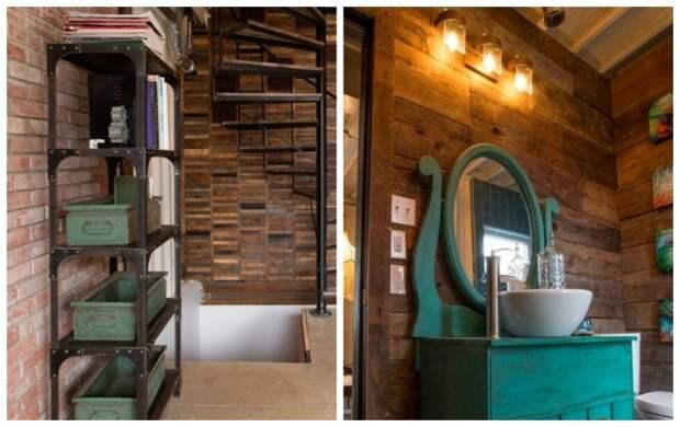 Перегородки для создания отдельных комнат сделаны из дерева и необработанного кирпича. | Фото: foot-container.ru.