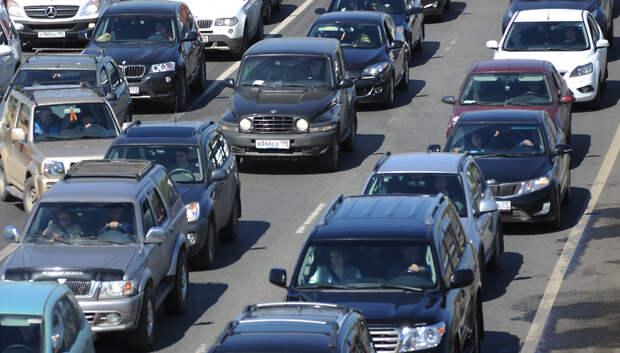 Пробка длиной более 2 км образовалась на трассе А‑107 в Подольске