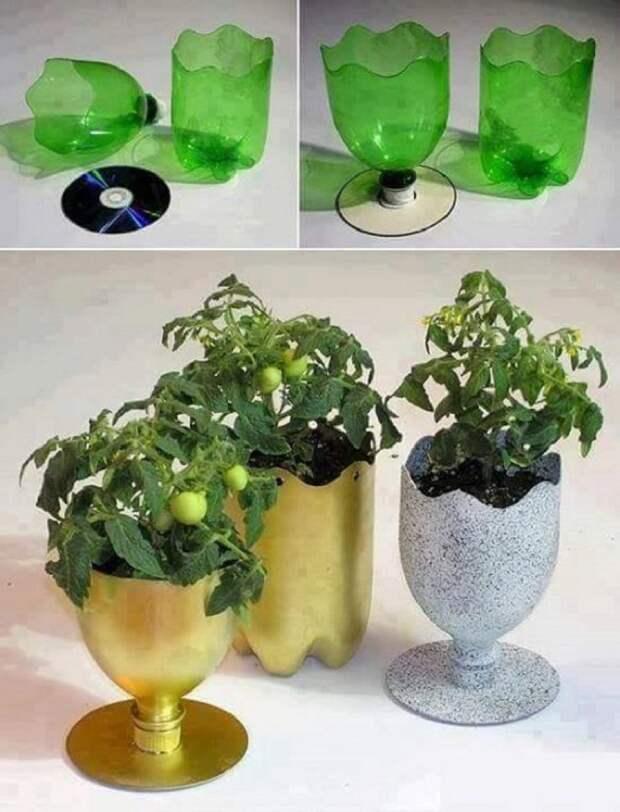 красивые горшки из пластиковых бутылок