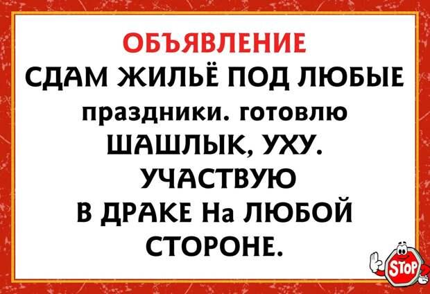 Возможно, это изображение (один или несколько человек и текст «объявление сдам жильё под любые праздники. готовлю шашлык, уху. участвую в драке Ha любой стороне. STOP»)