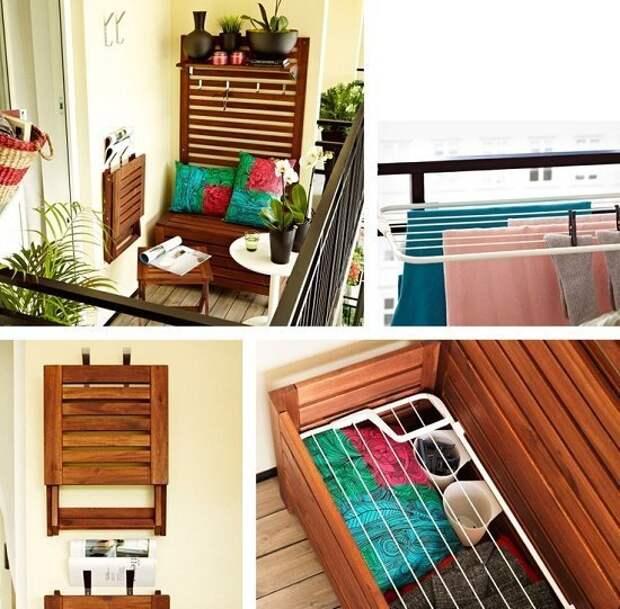 Можно поставить сундук-скамью а на стену поставить раздвижные табуреты Фабрика идей, балкон, дизайн, идеи, маленький, экономия пространства