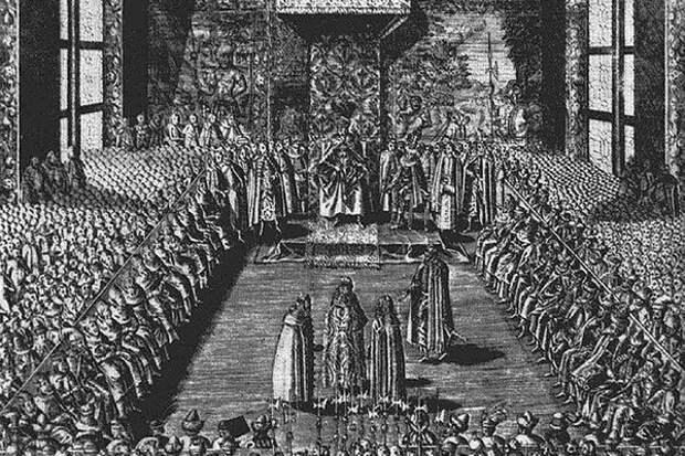 Василий Шуйский на варшавском сейме перед царем Сигизмундом III