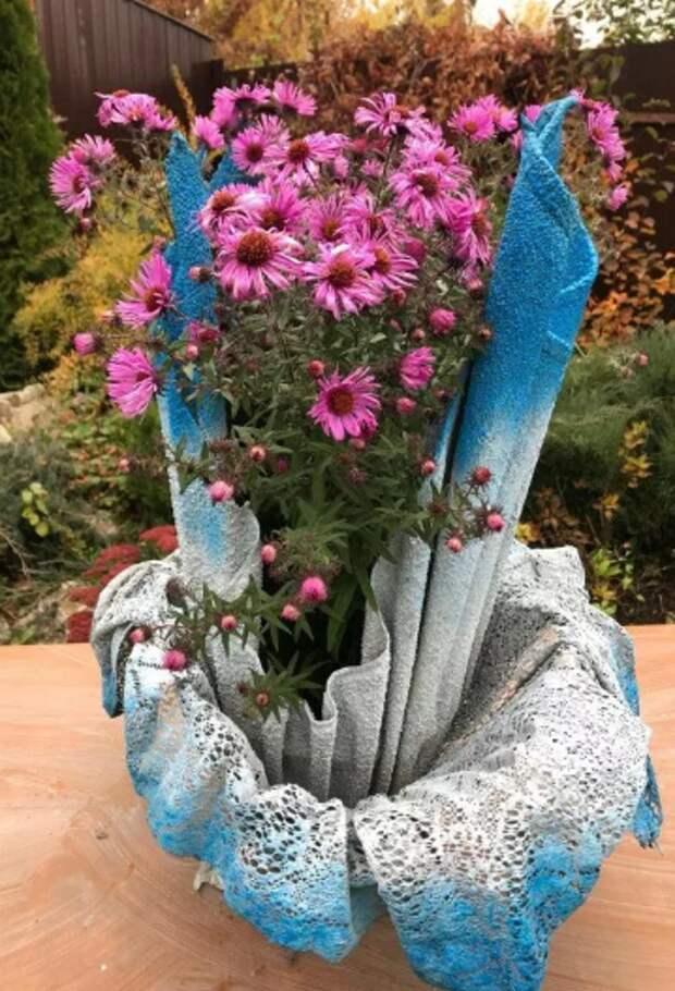 Цемент и ткань - интересная композиция! Превращение обычной тряпки в причудливый цветок