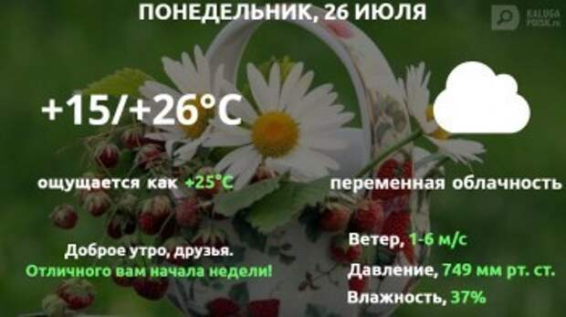 Прогноз погоды в Калуге на 26 июля