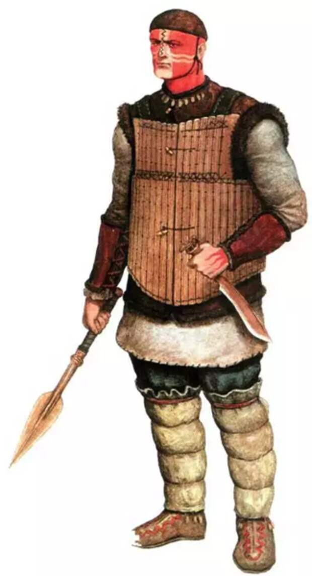 Реконструкция облика сибирского воина сейминско-турбинской культуры.