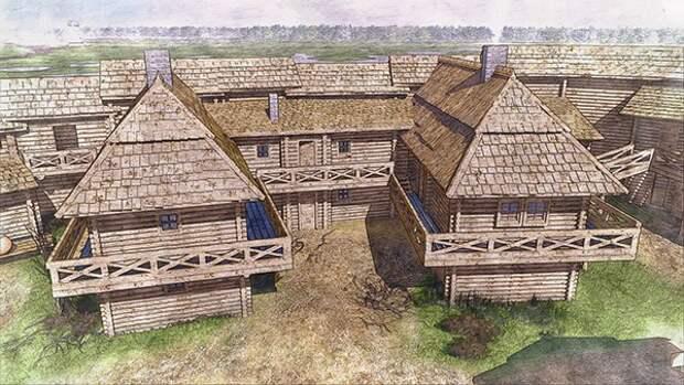 Реконструкция средневекового деревянного городище Выжвы, Волынская область.