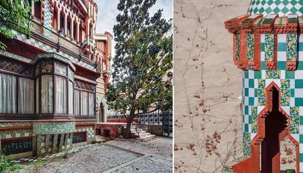 Фасад украшен керамической плиткой, вручную расписанной цветочными мотивами (Casa Vicens).
