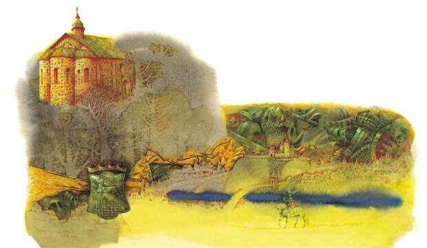 Изящные акварели на западно-древнерусские мотивы.