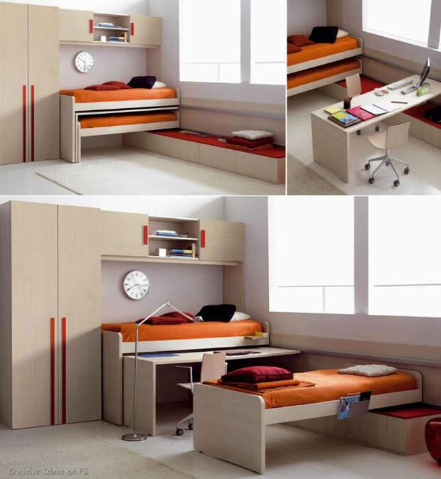 Две кровати и стол.