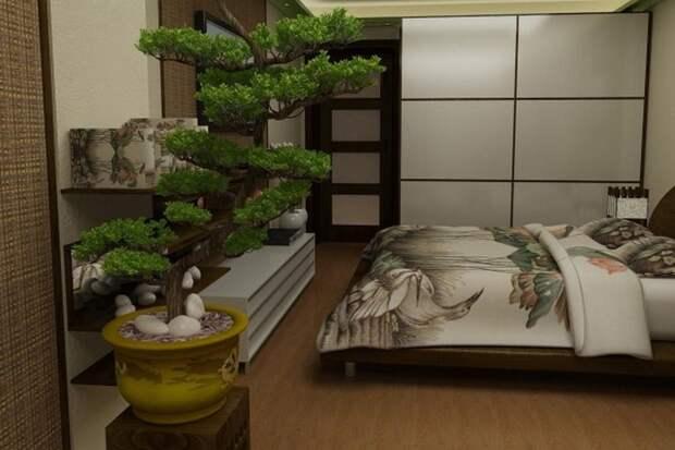 Бонсай в интерьере спальни. / Фото: idealnijdom.ru.