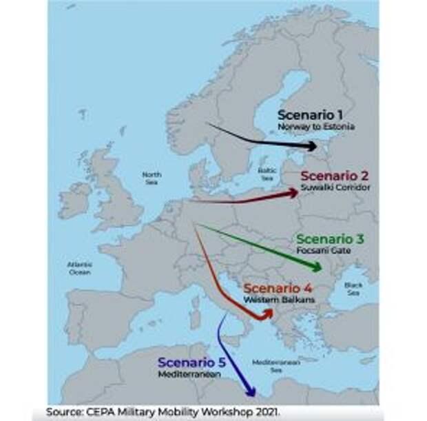 На карте изображены возможные районы сосредоточения НАТО для ударов по русскому Северу, Северо-Западу с Белоруссией и Причерноморью с Крымом.