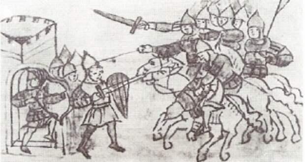 Миниатюра из списка Радзивилловой летописи XV в., изображающая нападение конницы на охрану ворот крепости. ('Солдатъ')