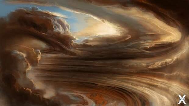 Вихри Юпитера в представлении художника