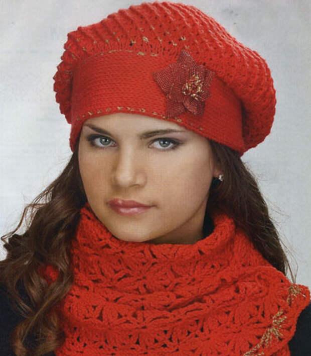 вязание крючком берет и шарф